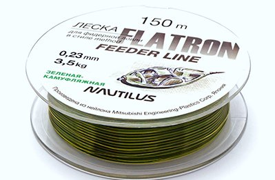 ЛЕСКА NAUTILUS FLATRON FEEDER 300M D-0.16ММ 1.8КГ CAMO GREEN