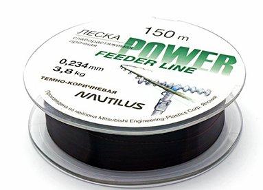 Леска Nautilus Power Feeder 150m d-0.128мм 1,2кг Dark Brown