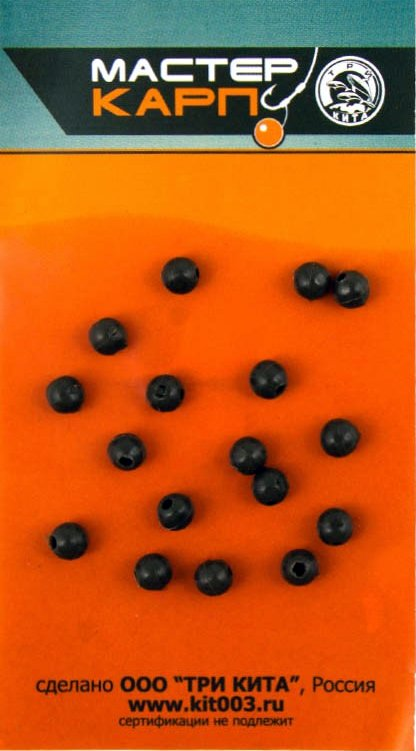 Бусина d.6 ЗЕЛЕНАЯ (силикон) (уп/20шт) ТРИ КИТА